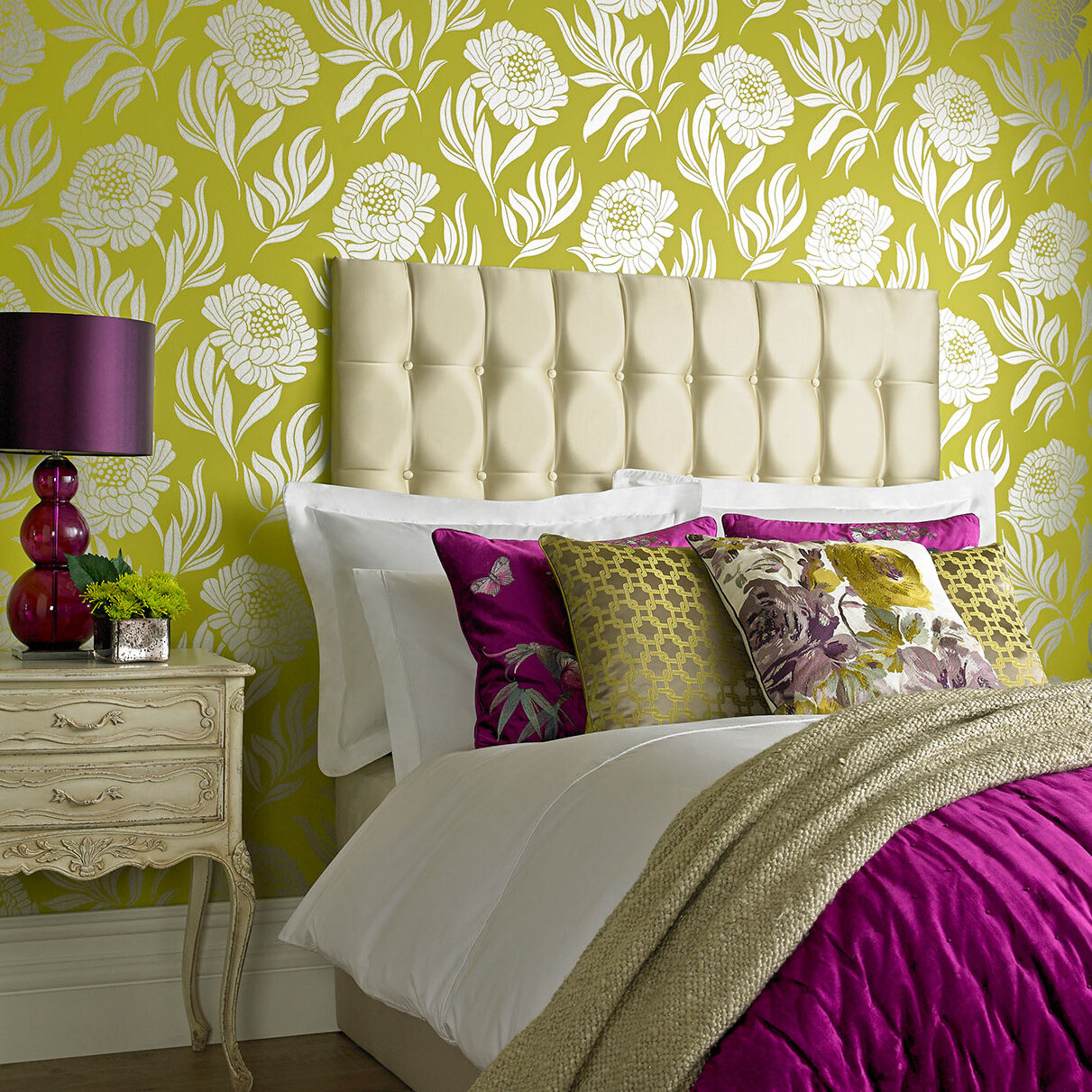 upholstered headboard, pillows, wallpaper in bedroom